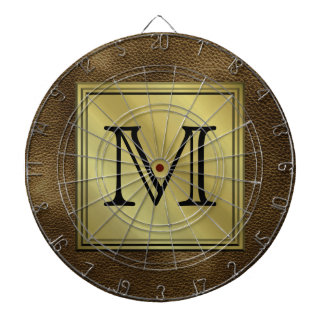 Printed Custom Monogram Image. Brown. Dart Board
