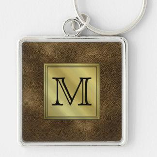 Printed Custom Monogram Image. Brown. Keychain