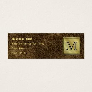 Printed Custom Monogram Image. Brown. Mini Business Card