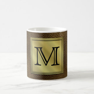 Printed Custom Monogram Image. Brown. Classic White Coffee Mug