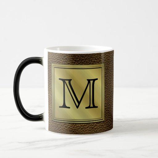 Printed Custom Monogram Image. Brown. 11 Oz Magic Heat Color-Changing Coffee Mug