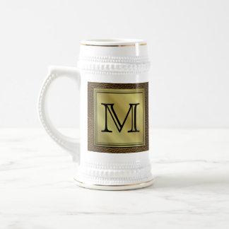 Printed Custom Monogram Image. Brown. 18 Oz Beer Stein