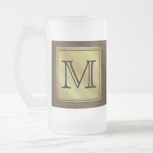 Printed Custom Monogram Image. Brown. Mugs