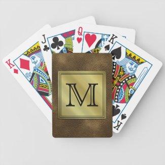 Printed Custom Monogram Image. Brown. Bicycle Poker Deck