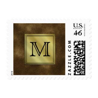 Printed Custom Monogram Image Brown Postage Stamps