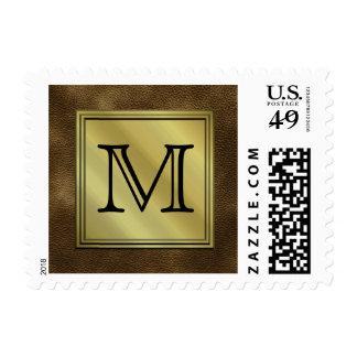 Printed Custom Monogram Image. Brown. Postage
