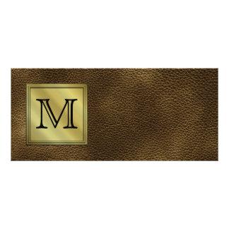 Printed Custom Monogram Image. Brown. Rack Card