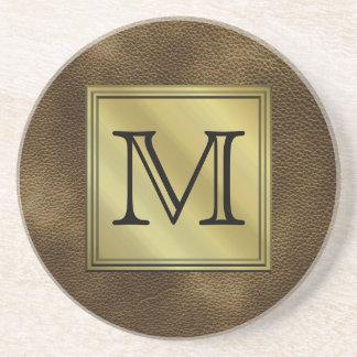 Printed Custom Monogram Image. Brown. Sandstone Coaster
