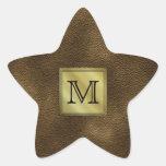 Printed Custom Monogram Image. Brown. Star Sticker