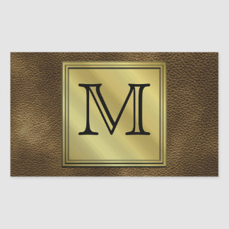 Printed Custom Monogram Image. Brown. Rectangular Sticker
