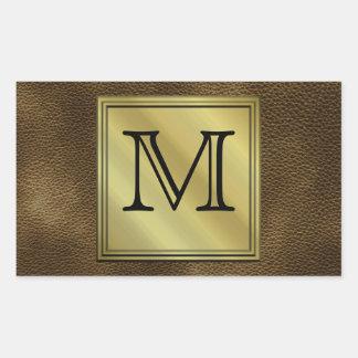 Printed Custom Monogram Image. Brown. Rectangular Stickers