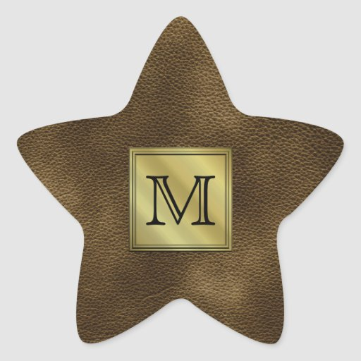 Printed Custom Monogram Image. Brown. Star Stickers