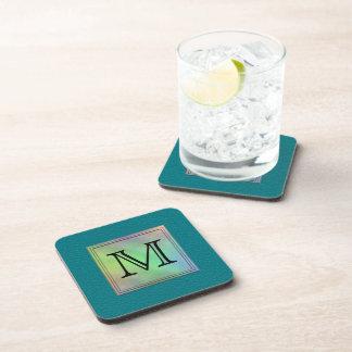 Printed Custom Monogram Image on Teal Pattern. Beverage Coaster