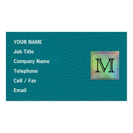 Printed Custom Monogram Image on Teal Pattern. Business Card