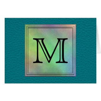 Printed Custom Monogram Image on Teal Pattern. Card