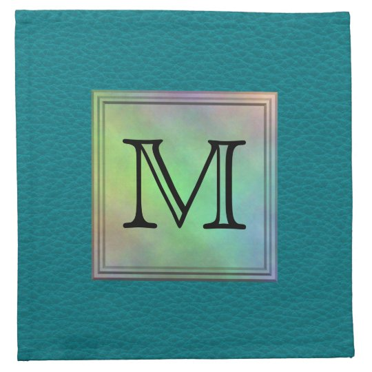 Printed Custom Monogram Image on Teal Pattern. Cloth Napkin