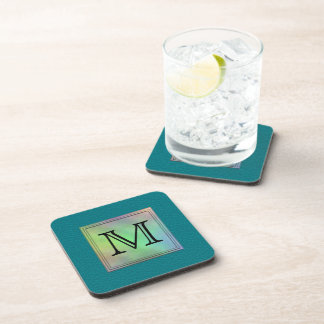 Printed Custom Monogram Image on Teal Pattern. Drink Coaster