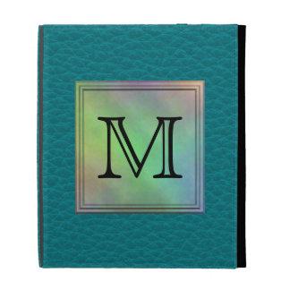 Printed Custom Monogram Image on Teal Pattern. iPad Folio Covers