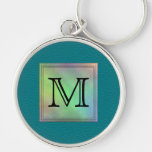 Printed Custom Monogram Image on Teal Pattern. Key Chain