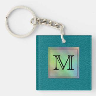 Printed Custom Monogram Image on Teal Pattern. Acrylic Key Chain