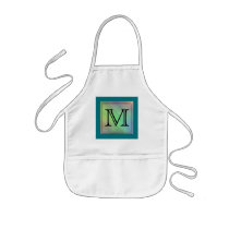 Printed Custom Monogram Image on Teal Pattern. Kids' Apron