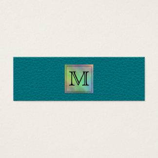 Printed Custom Monogram Image on Teal Pattern. Mini Business Card