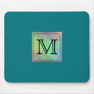 Printed Custom Monogram Image on Teal Pattern. Mouse Pad