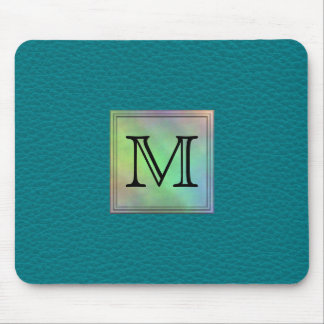 Printed Custom Monogram Image on Teal Pattern. Mouse Pads