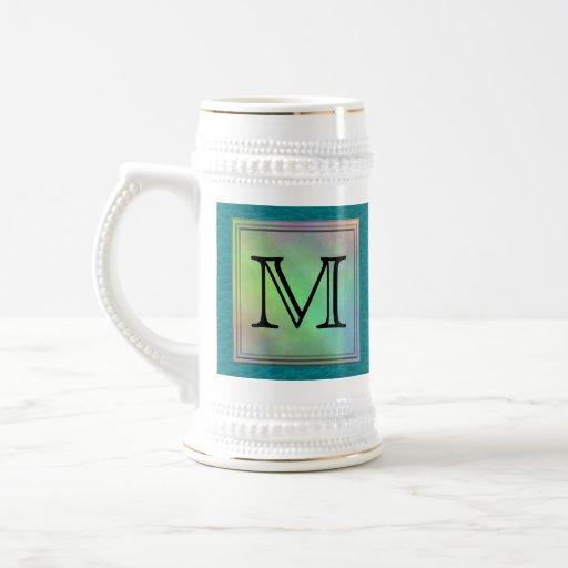 Printed Custom Monogram Image on Teal Pattern. Coffee Mug