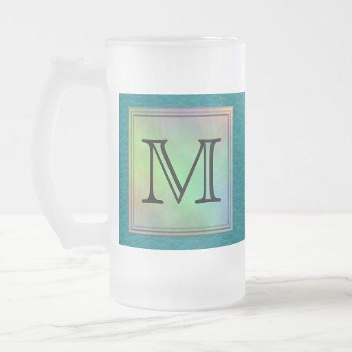 Printed Custom Monogram Image on Teal Pattern. Mugs