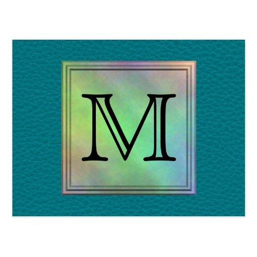 Printed Custom Monogram Image on Teal Pattern. Postcard