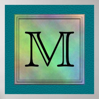 Printed Custom Monogram Image on Teal Pattern. Poster