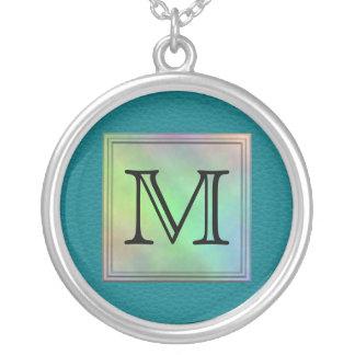 Printed Custom Monogram Image on Teal Pattern. Round Pendant Necklace