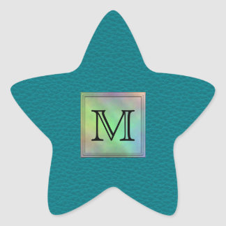 Printed Custom Monogram Image on Teal Pattern. Star Sticker