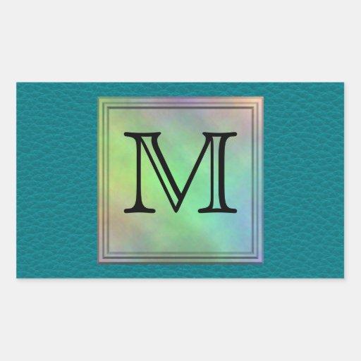 Printed Custom Monogram Image on Teal Pattern. Rectangular Sticker