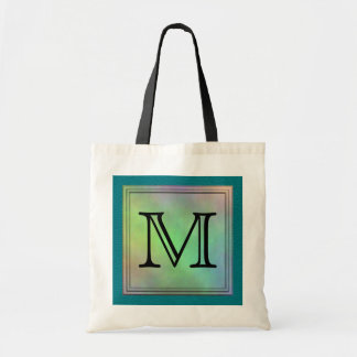 Printed Custom Monogram Image on Teal Pattern. Tote Bag