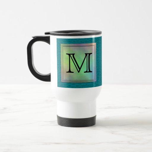 Printed Custom Monogram Image on Teal Pattern. Travel Mug
