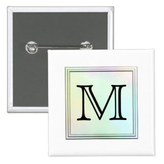 Printed Custom Monogram Image. Pretty, multicolor. Pinback Buttons