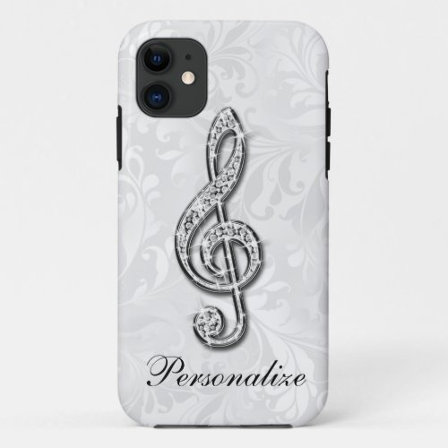 Printed Diamond Music Note Floral Damask Phone Case