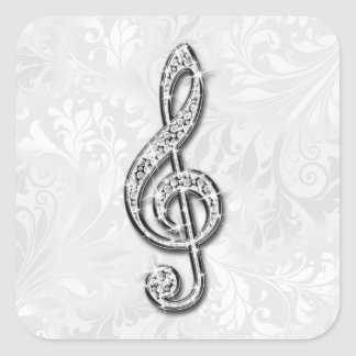 Printed Diamond Music Note Floral Damask Square Sticker