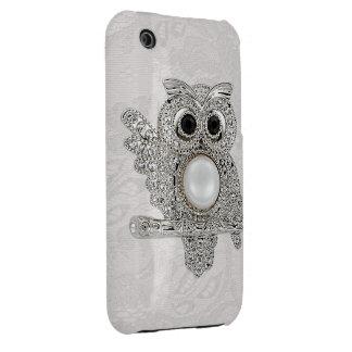 Printed Diamond Owl & Paisley Lace Image Case-Mate iPhone 3 Case