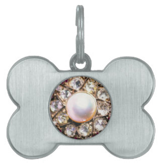 PRINTED DIAMOND STAR WITH PEARL PET ID TAG