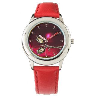 PRINTED DIAMOND TULIPS ,Red Ruby Gemstones Wristwatch