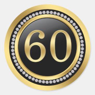 Printed diamonds 60th Wedding Anniversary Classic Round Sticker