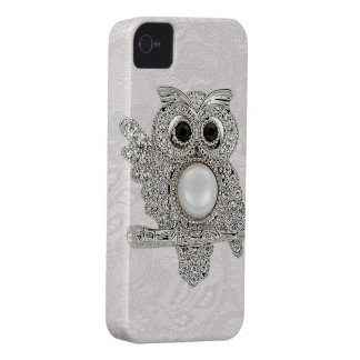 Printed Diamonds Owl & Paisley Lace iPhone 4 Case-Mate Case