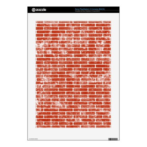 Printed Distressed Faux Red Brick Pattern PS3 Skin