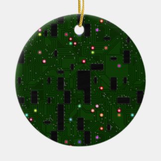Printed Electronic Circuit Board Double-Sided Ceramic Round Christmas Ornament