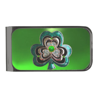 PRINTED EMERALD GREEN SHAMROCK JEWEL WITH GEMS GUNMETAL FINISH MONEY CLIP