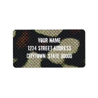 Printed Fake  Black Snake Skin Camo Style Design Personalized Address Labels