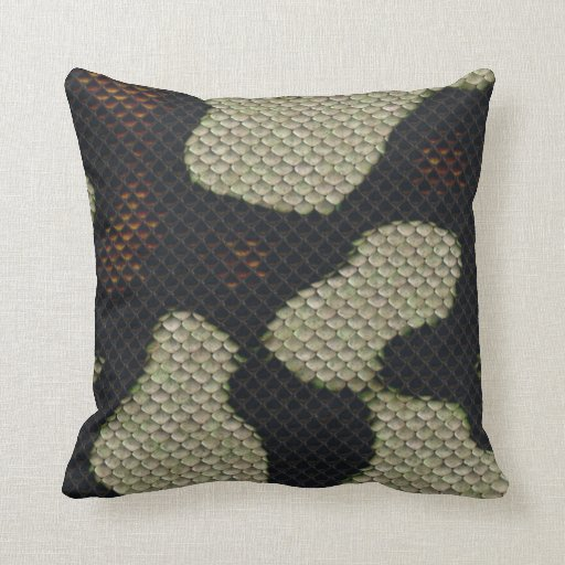 Printed Fake  Black Snake Skin Camo Style Design Pillow